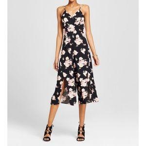 Black Floral Jumpsuit with Leg Slits